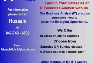 Business Analyst, Quality Analyst and Scrum Master Training and Job Placements